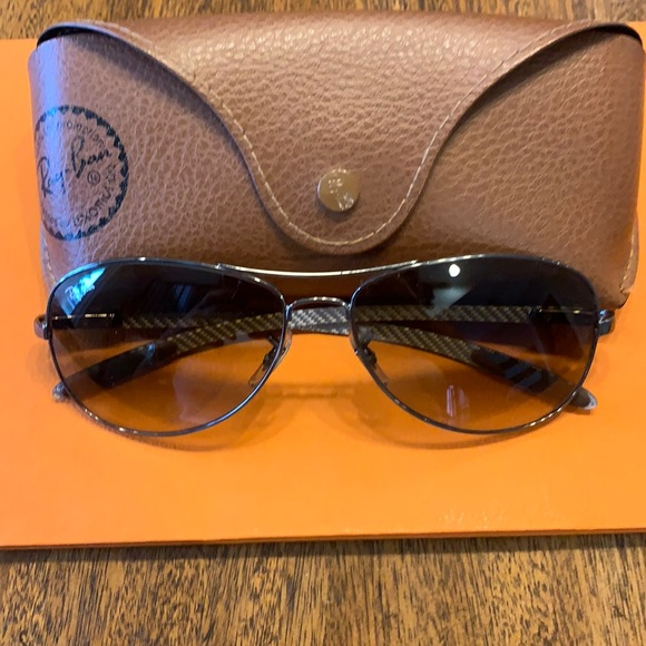 Ray Ban aviator eyeglasses with graphite style frame.